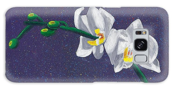 White Orchids On Dark Blue Galaxy Case