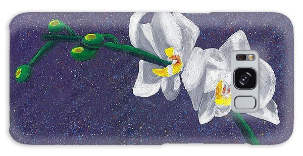 White Orchids On Dark Blue Galaxy Case by Laura Forde