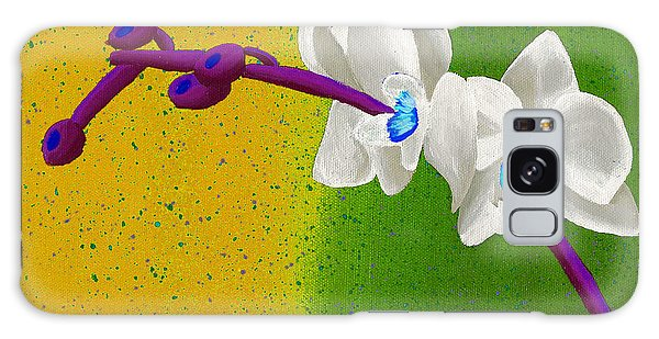 White Orchids On Yellow And Green Galaxy Case