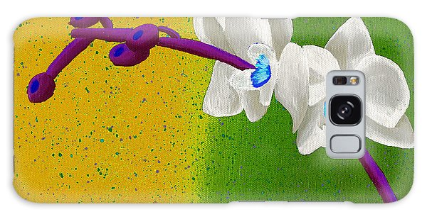 White Orchids On Yellow And Green Galaxy Case by Laura Forde