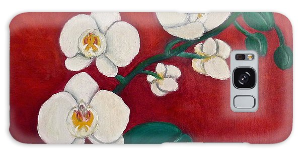 White Orchids Galaxy Case by Victoria Lakes
