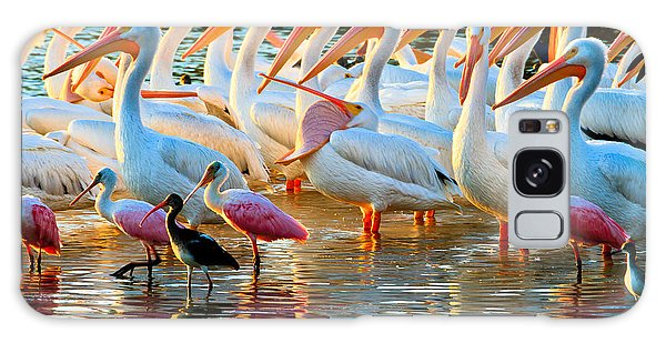 White Pelicans Galaxy Case
