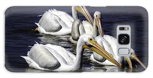 White Pelicans Fishing Galaxy Case