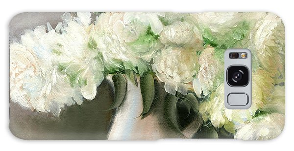 White Peonies Galaxy Case