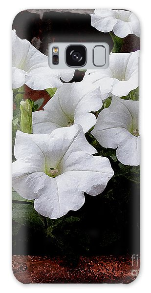 White Petunia Blooms Galaxy Case