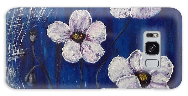 White Poppies  Galaxy Case by Renate Voigt