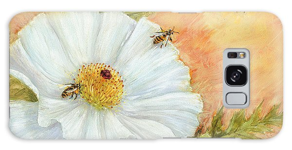 White Poppy And Bees Galaxy Case