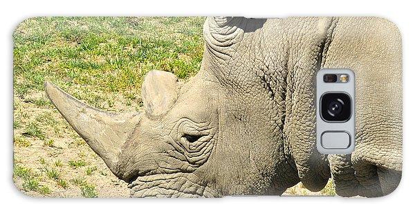 White Rhinoceros Portrait Galaxy Case by CML Brown