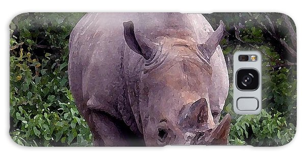 White Rhinoceros Water Coloring Galaxy Case