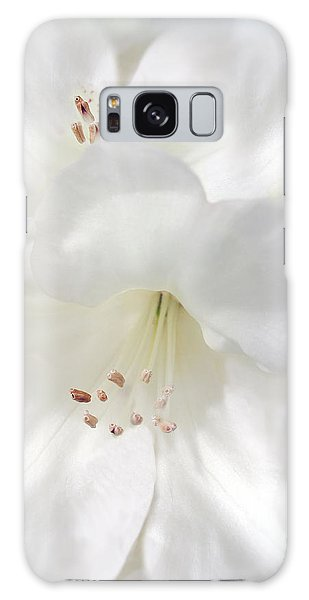 White Rhododendron Flowers Galaxy Case