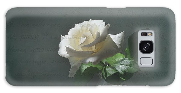 White Rose Still Life Galaxy Case