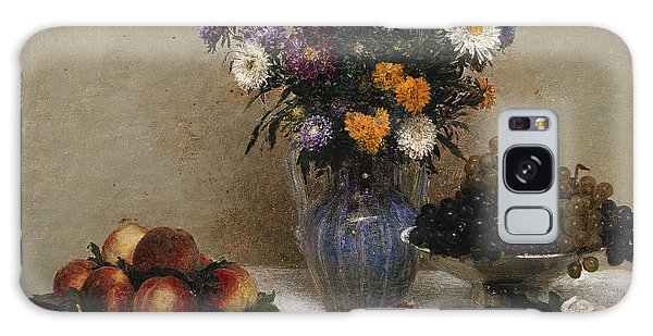 White Roses And Chrysanthemums Galaxy Case by Ignace Henri Jean Fantin-Latour