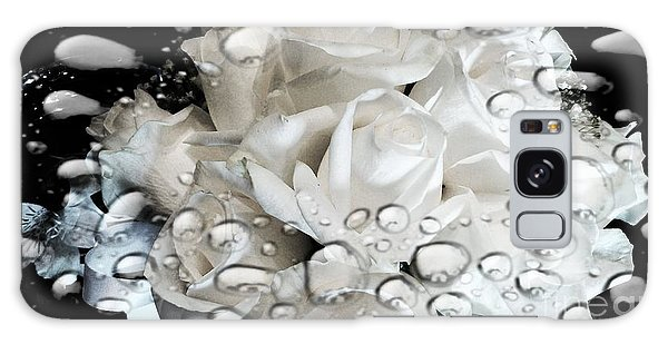 White Roses Galaxy Case by Michelle Frizzell-Thompson