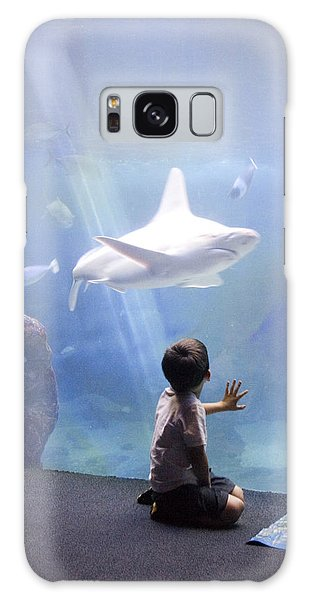 White Shark And Young Boy Galaxy Case by David Smith
