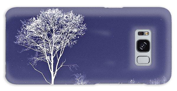 White Tree - Blue Sky - Silver Stars Galaxy Case
