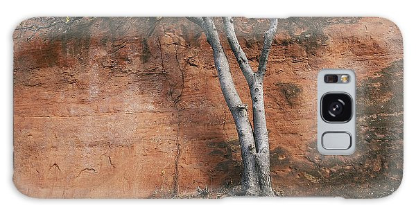 White Tree And Red Rock Face Galaxy Case