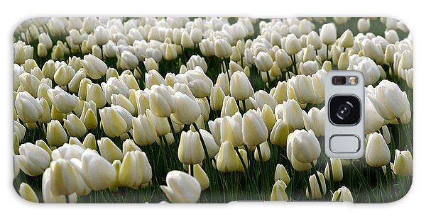 White Tulip Field  Galaxy Case