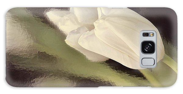 White Tulip Reflected In Misty Water Galaxy Case