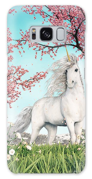 White Unicorn Amongst Cherry Trees Galaxy Case