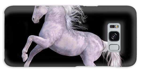 White Unicorn Black Background Half Rear Galaxy Case
