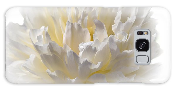 White Peony With A Dash Of Yellow Galaxy Case