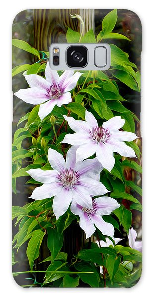 White With Purple Flowers 2 Galaxy Case