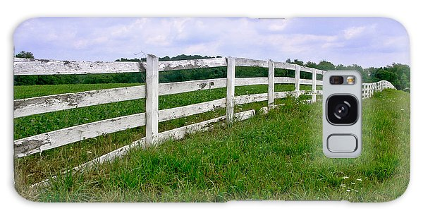Fence Post Galaxy Case - White Wood Fence by Olivier Le Queinec