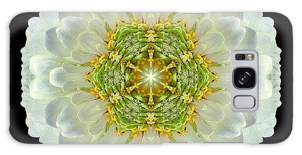 White Zinnia Elegans V Flower Mandala Galaxy Case