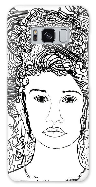 Wild Hair Portrait In Shapes And Lines Galaxy Case