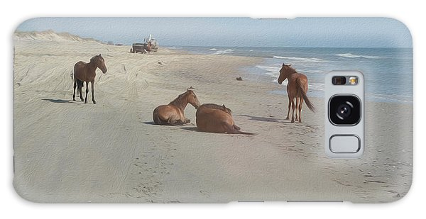 Wild Horses On The Beach Galaxy Case