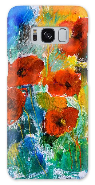 Wild Poppies Galaxy Case by Elise Palmigiani