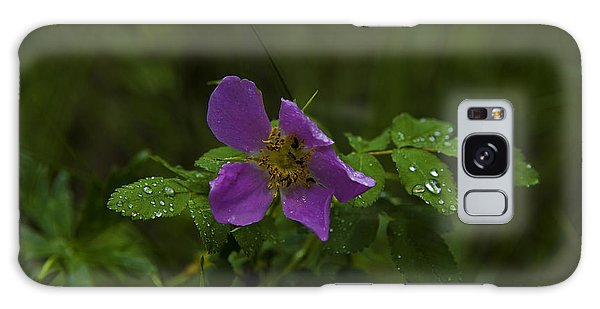 Wild Rose In Rain Galaxy Case