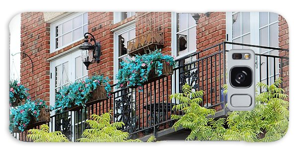 Blue Flowers On A Balcony  Galaxy Case