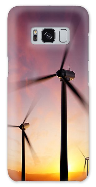 Technology Galaxy Case - Wind Turbine Blades Spinning At Sunset by Johan Swanepoel