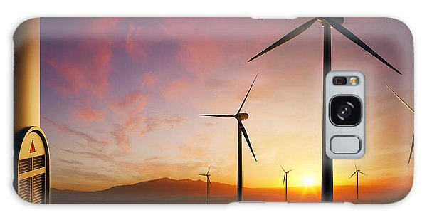 Rural Scenes Galaxy S8 Case - Wind Turbines At Sunset by Johan Swanepoel