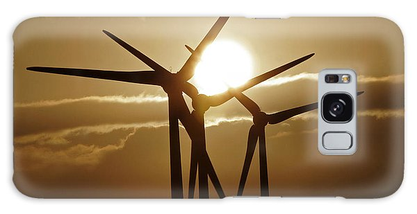 Wind Turbines Silhouette Against A Sunset Galaxy Case