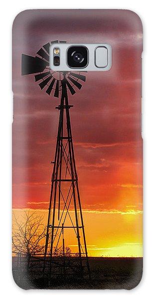 Windmill And Light Pillar Galaxy Case