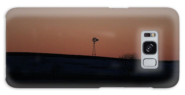 Galaxy Case featuring the photograph Windmill At Sunset by Ann E Robson