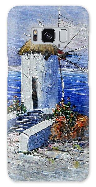 Windmill In Greece Galaxy Case