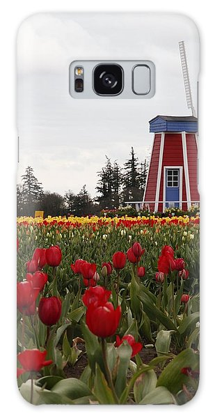 Windmill Red Tulips Galaxy Case by Athena Mckinzie