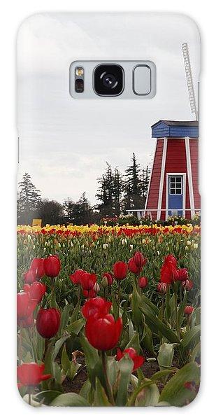 Windmill Red Tulips Galaxy Case by Athena Mckinzie
