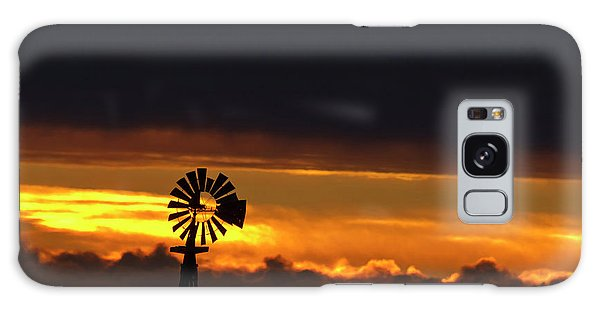 Nebraska Galaxy Case - Windmill Silhouetted Against The Sunset by Chuck Haney