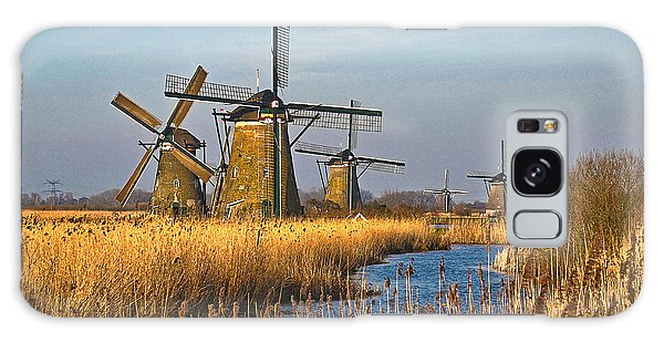 Windmills And Reeds Near Kinderdijk Galaxy Case