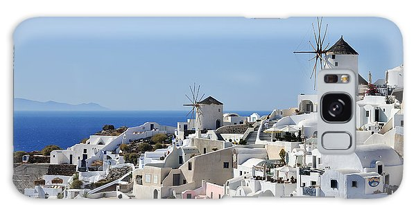 Windmills And White Houses In Oia Galaxy Case
