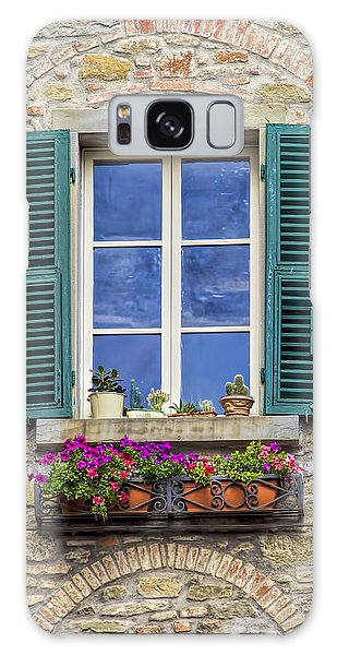 Window Of Tuscany With Green Wood Shutters Galaxy Case