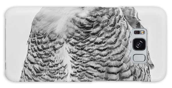 Winking Snowy Owl Black And White Galaxy Case by Thomas Young
