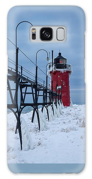 Winter At South Haven Lighthouse Galaxy Case