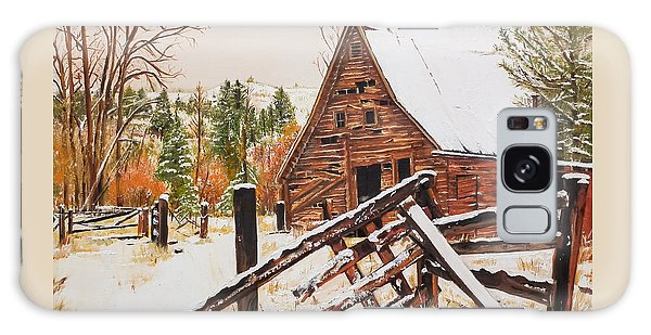 Winter - Barn - Snow In Nevada Galaxy Case