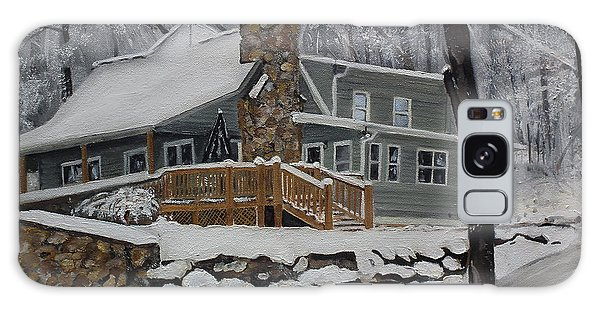 Winter - Cabin - In The Woods Galaxy Case by Jan Dappen
