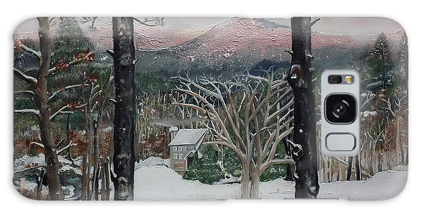 Galaxy Case featuring the painting Winter - Cabin - Pink Knob by Jan Dappen